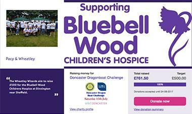 £761.50 for Bluebell Wood Hospice