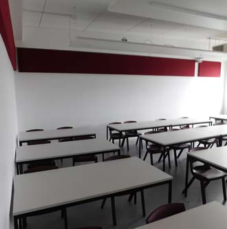 Bracken Hale Acoustic Installation red classroom
